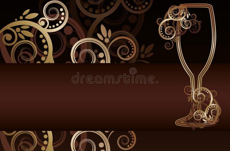 Vidro de vinho com redemoinhos ilustração do vetor