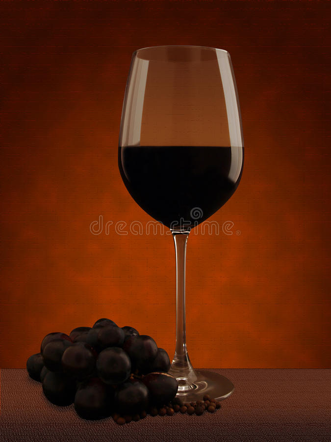 Vidro de vinho com uvas foto de stock