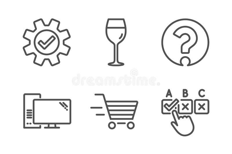 Vidro de vinho, compra da entrega e de ?cones do servi?o grupo Computador, ponto de interroga??o e sinais corretos da caixa de se ilustração royalty free