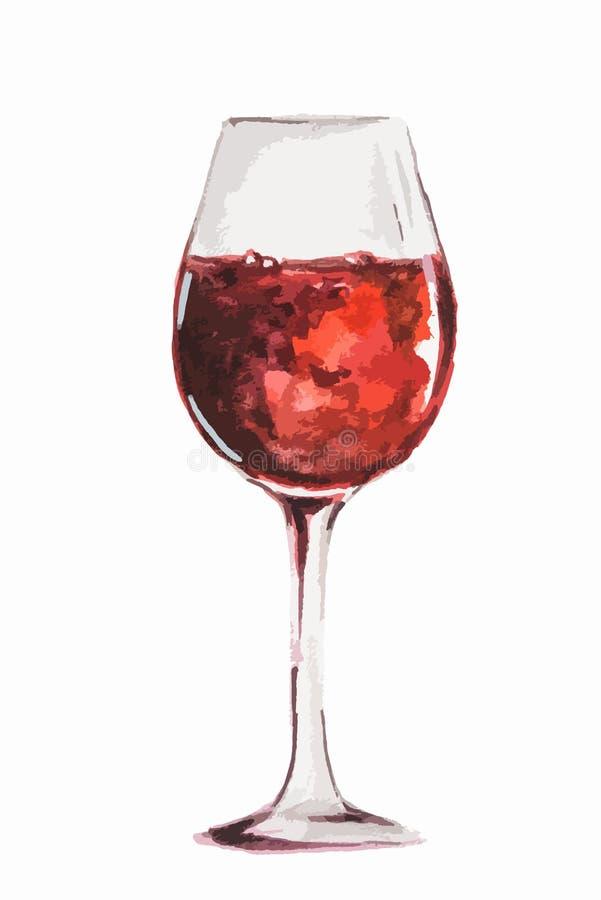 Vidro de vinho da aquarela