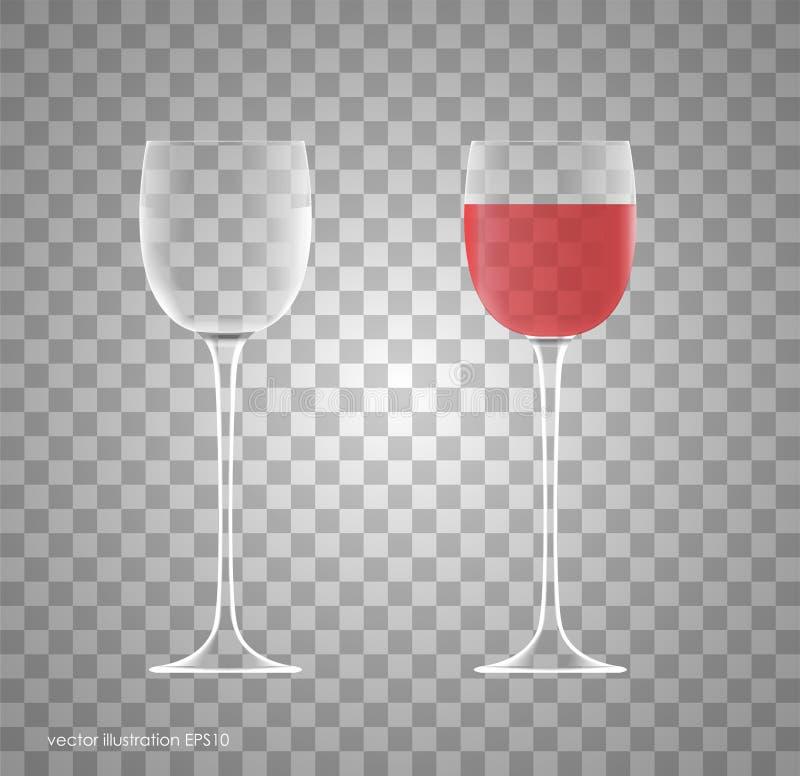 Vidro de vinho da transparência Vazio e completamente ilustração stock