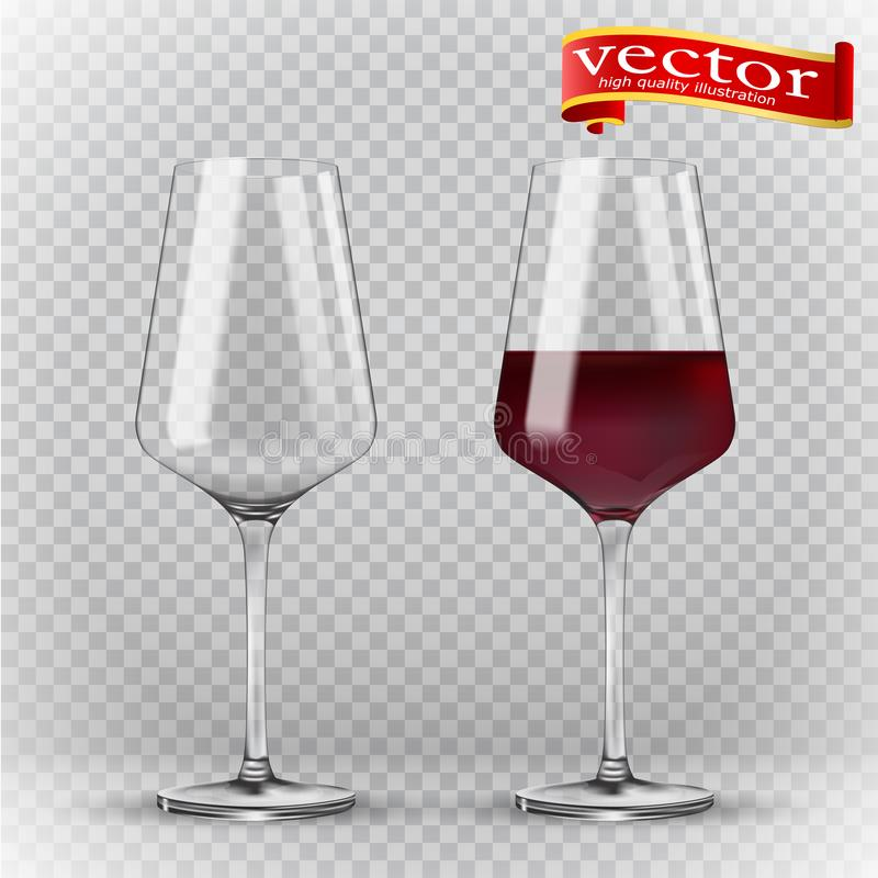 Vidro de vinho da transparência Vazio e completamente 3d realismo, ícone do vetor ilustração royalty free