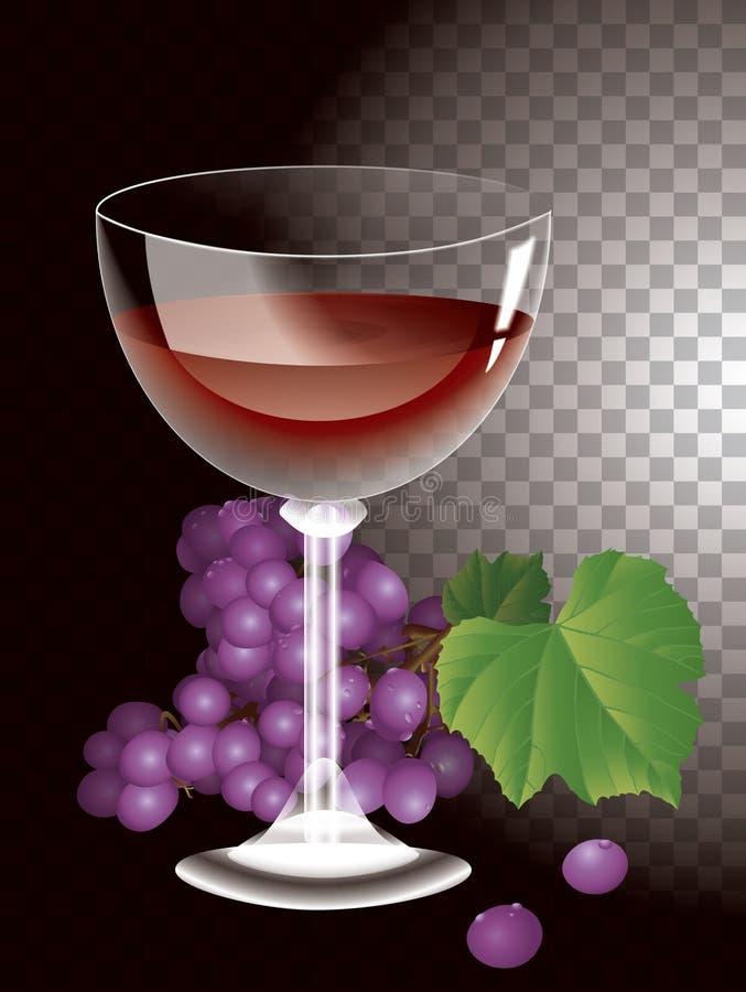 Vidro de vinho do vetor e grupos de uvas ilustração do vetor