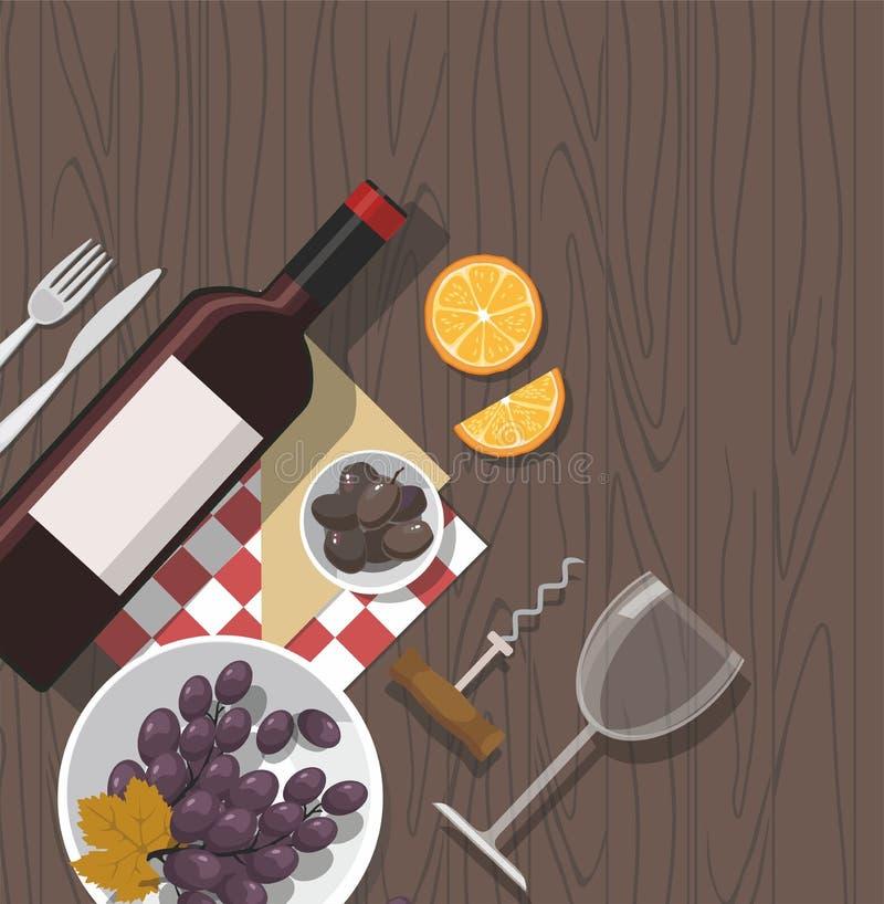 Vidro de vinho, garrafa de vinho, azeitonas e uvas no fundo de madeira Gosto de vinho ilustração stock