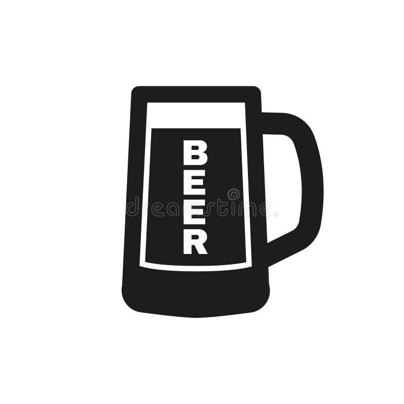Vidro do ícone da cerveja Cerveja e bar, símbolo da barra Ui web logo sinal Projeto liso app estoque ilustração stock