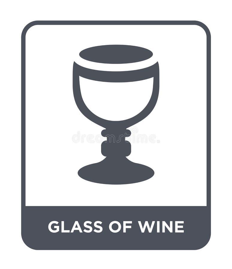 vidro do ícone do vinho no estilo na moda do projeto vidro do ícone do vinho isolado no fundo branco vidro do ícone do vetor do v ilustração do vetor