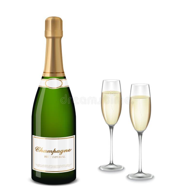 Vidro do champanhe e do frasco ilustração royalty free