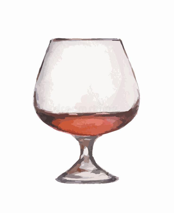 Vidro do conhaque da aquarela ilustração do vetor