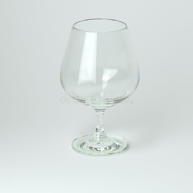 Vidro do conhaque ou de vinho no fundo branco ilustração stock