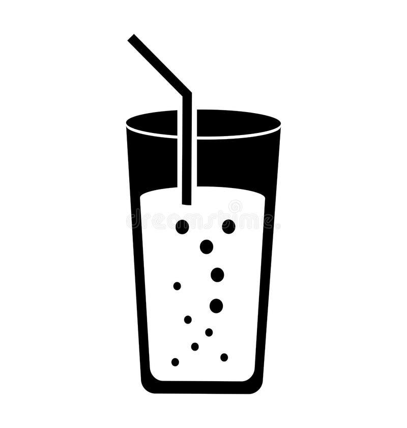 Vidro do copo com ícone da palha ilustração royalty free