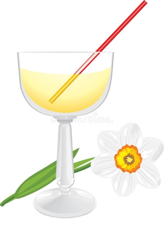 Vidro do Daffodil e de vinho ilustração do vetor