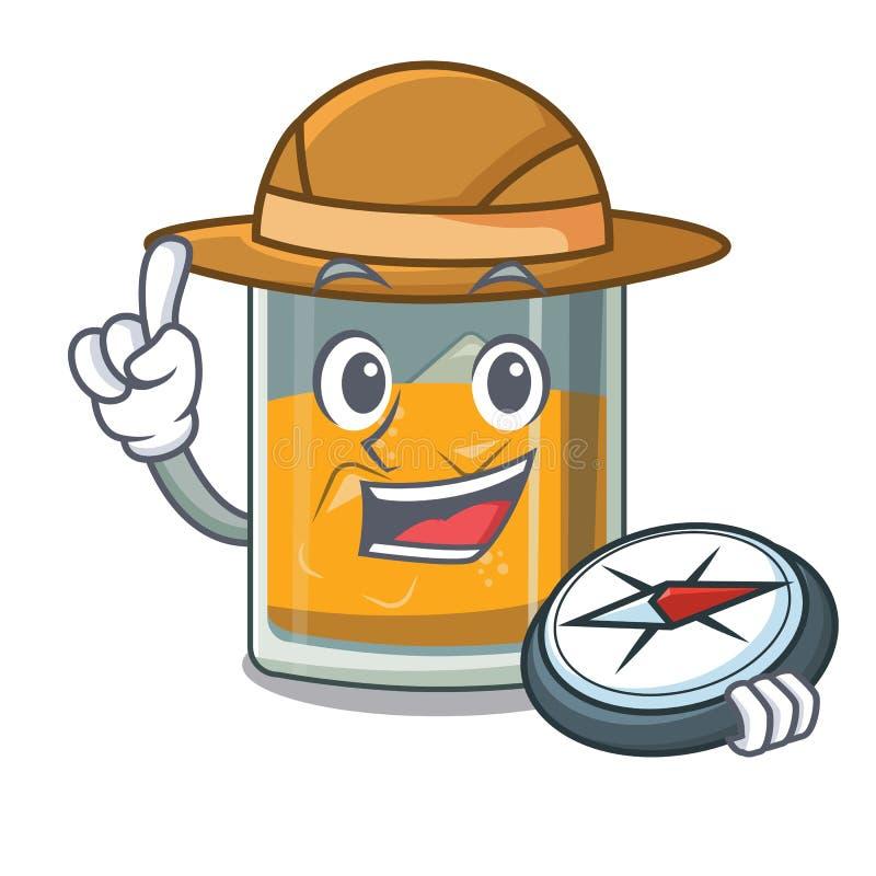 Vidro do explorador do uísque dos desenhos animados acima da tabela ilustração stock