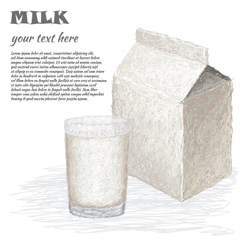 Vidro do leite e da caixa do leite ilustração do vetor