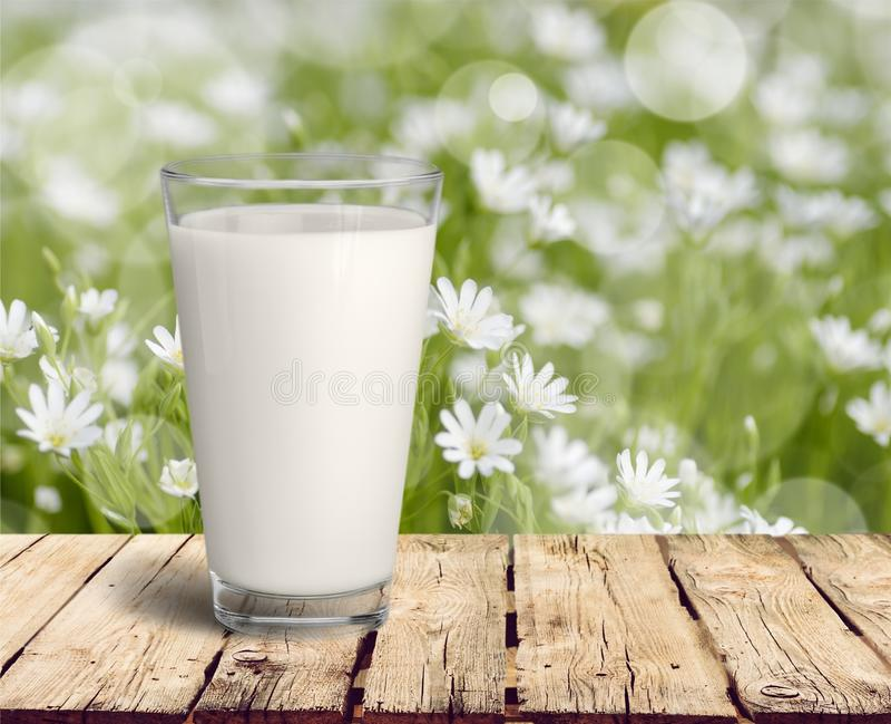Vidro do leite fresco na tabela de madeira imagens de stock royalty free