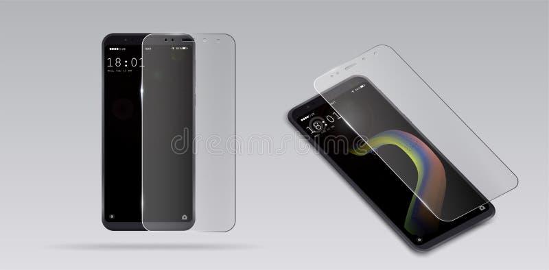 Vidro do protetor da tela Vector a ilustração do protetor de vidro moderado transparente para o telefone celular ilustração do vetor