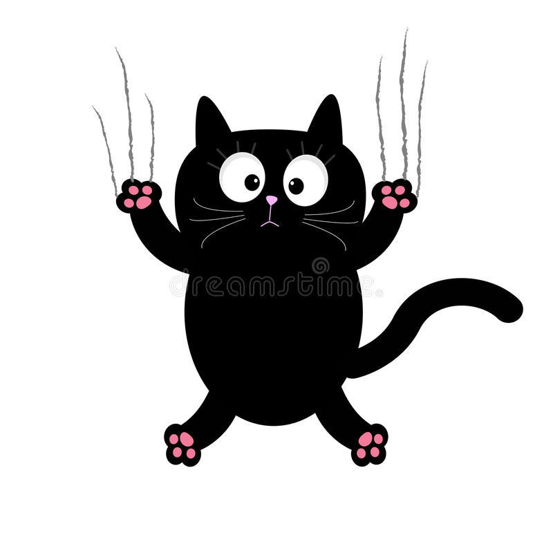 Vidro do risco da garra do gato preto dos desenhos animados Fundo branco Isolado Projeto liso ilustração do vetor