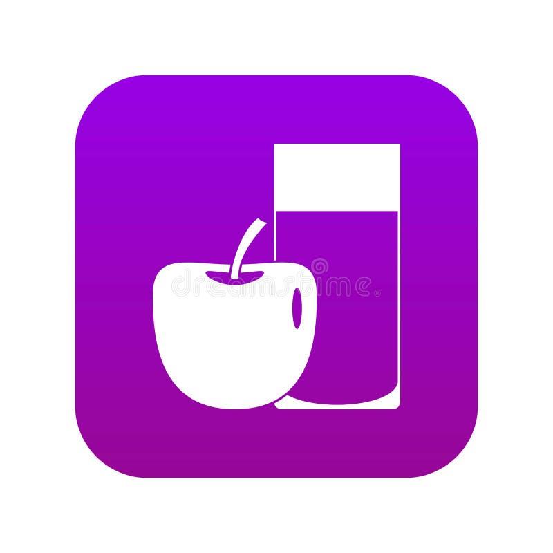 Vidro do roxo digital do ícone da bebida e da maçã ilustração stock