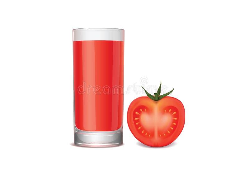 Vidro do suco de tomate e do tomate fresco fotografia de stock royalty free
