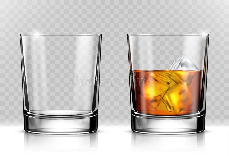 Vidro do uísque escocês e do gelo ilustração royalty free