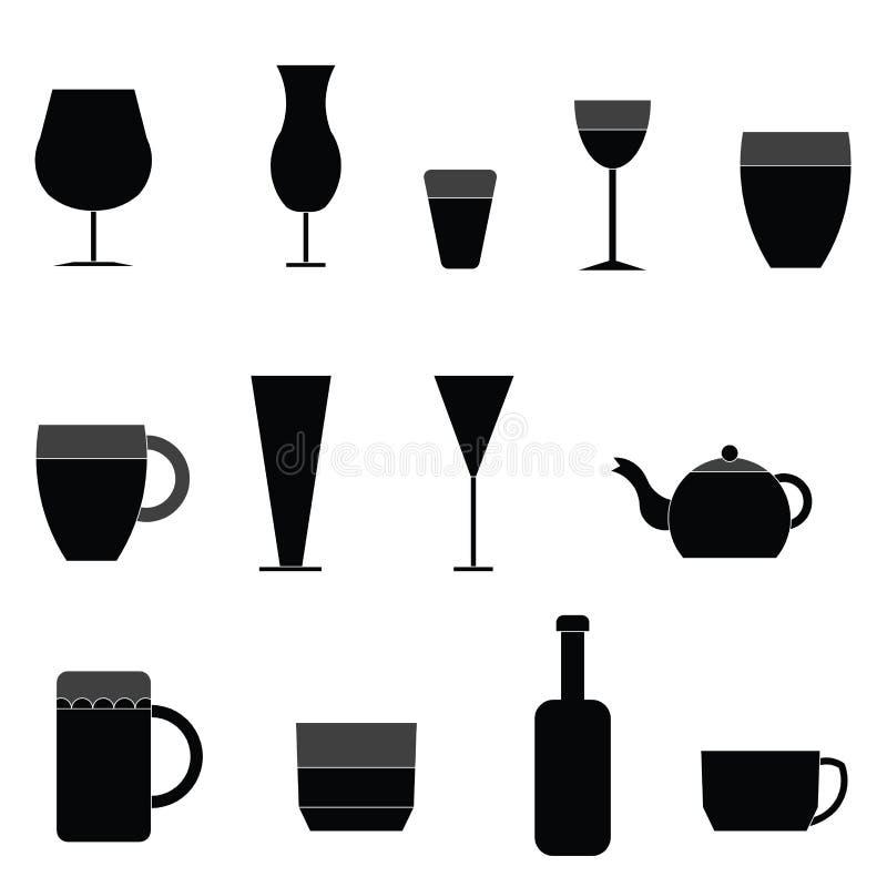 Vidro do vetor do símbolo do ícone do vinho ilustração royalty free