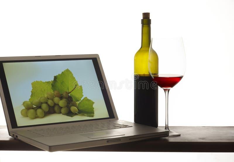 Vidro do vinho com frasco e computador fotos de stock royalty free