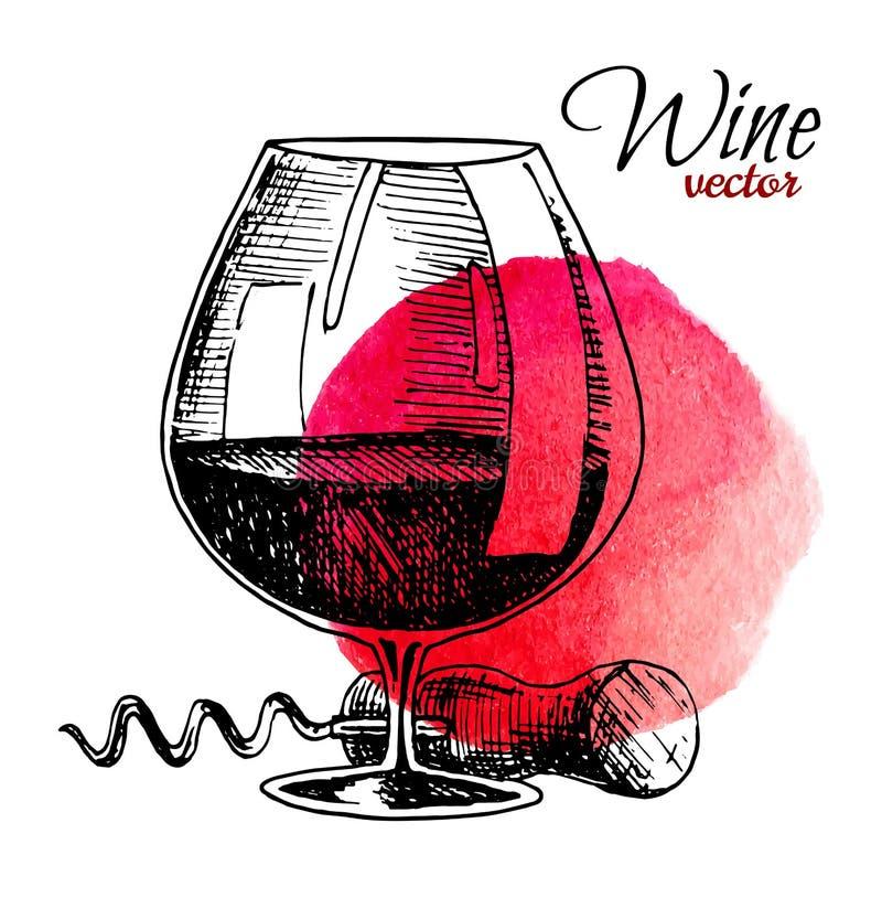 Vidro do vinho e do corkscrew O vintage preto gravou a ilustra??o do vetor isolada com fundo da aquarela Para a etiqueta ilustração royalty free