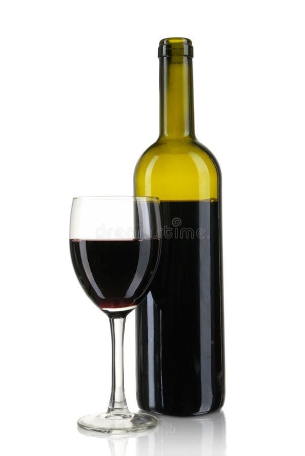 Vidro do vinho e do frasco fotografia de stock