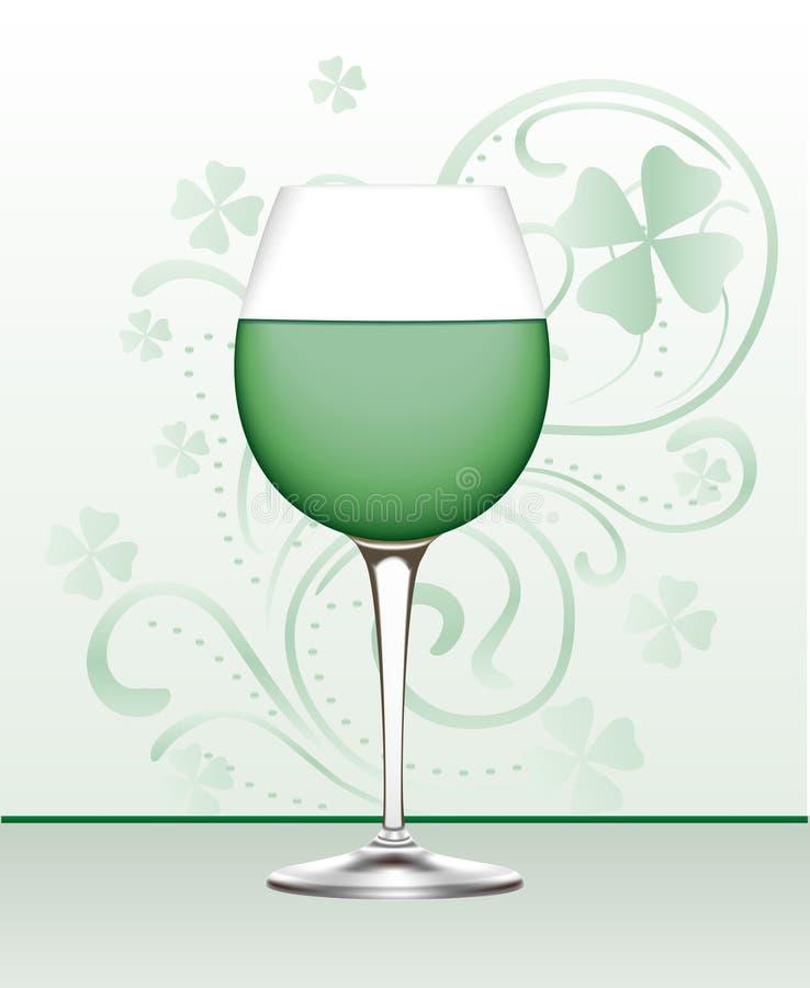 Vidro do vinho verde ilustração royalty free
