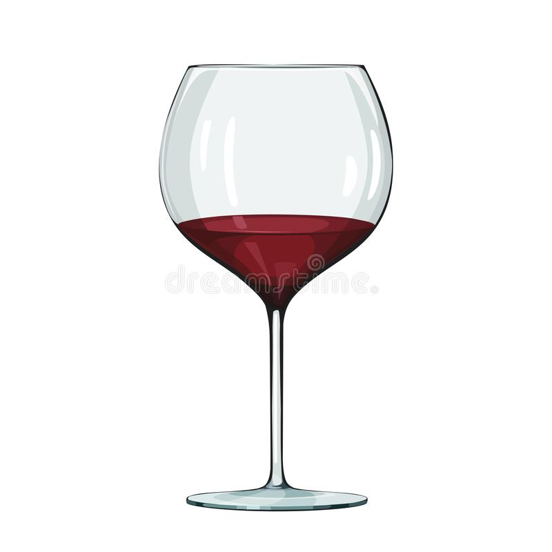 Vidro do vinho vermelho Ilustração do vetor no branco ilustração royalty free