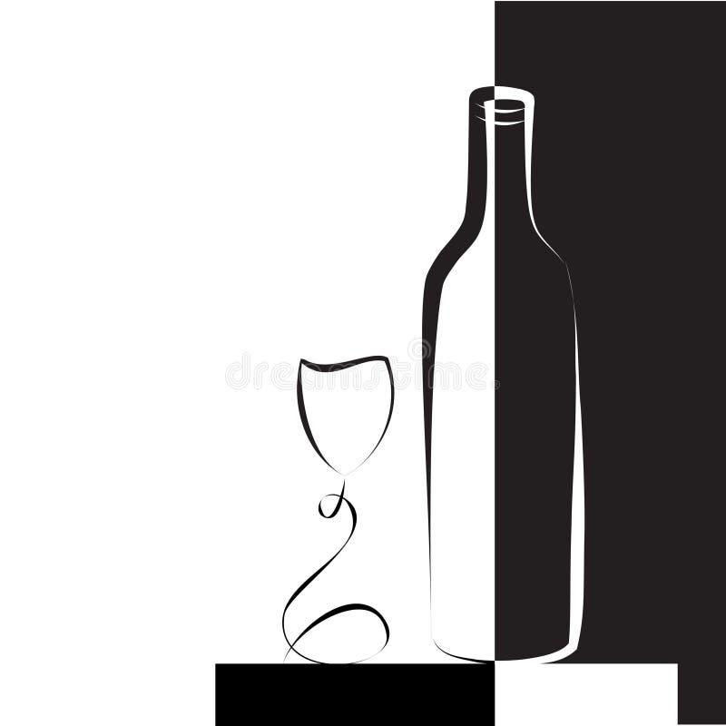 Vidro e frasco de vinho para o vinho ilustração stock