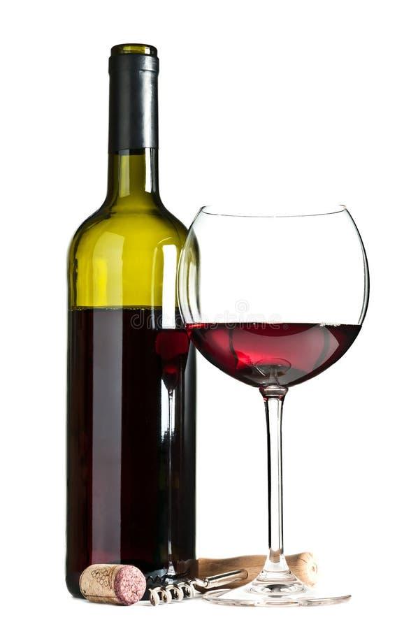 Vidro e frasco do vinho fotografia de stock royalty free
