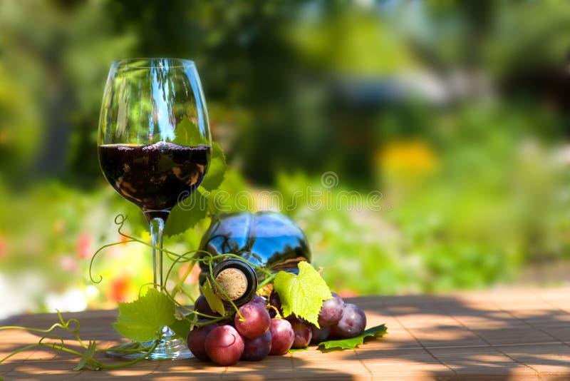 Vidro e frasco do vinho vermelho fotografia de stock royalty free