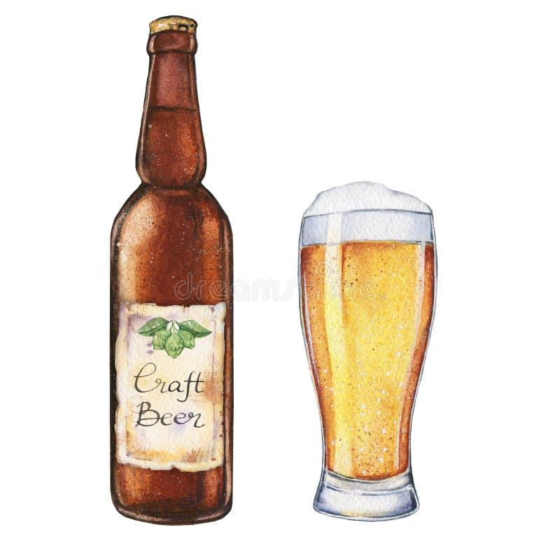 Vidro e garrafa de cerveja da aquarela ilustração do vetor