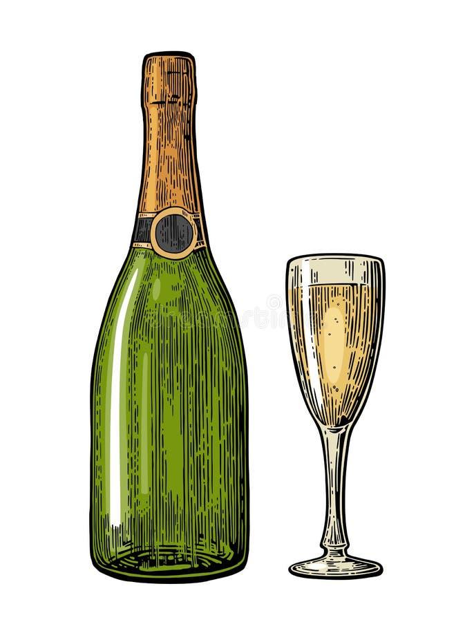 Vidro e garrafa de Champagne ilustração stock