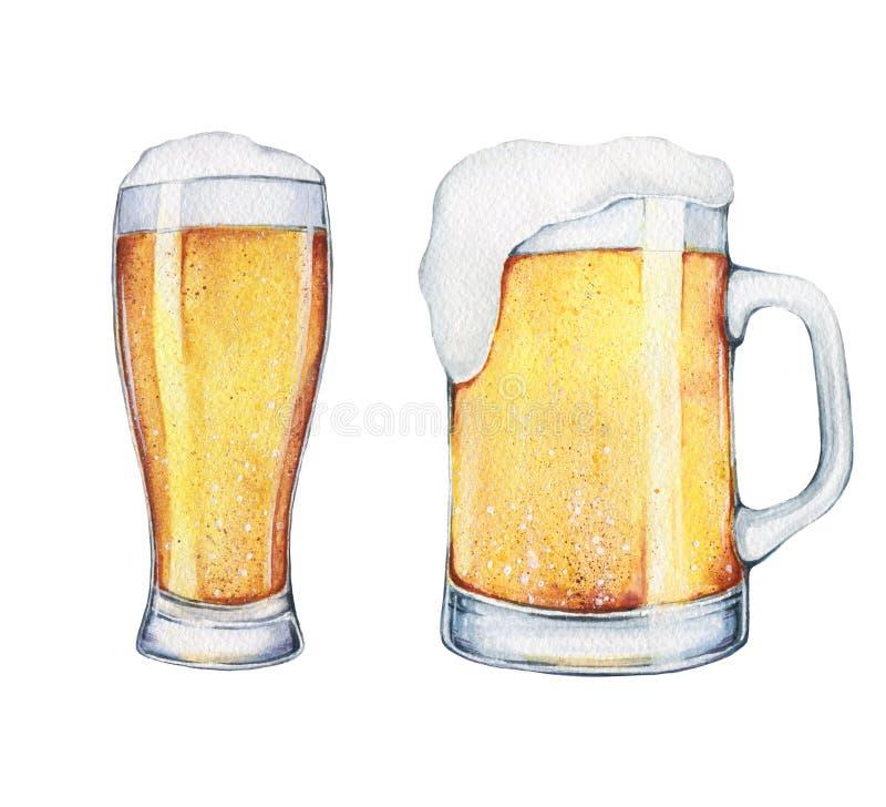Vidro e pinta de cerveja da aquarela ilustração stock