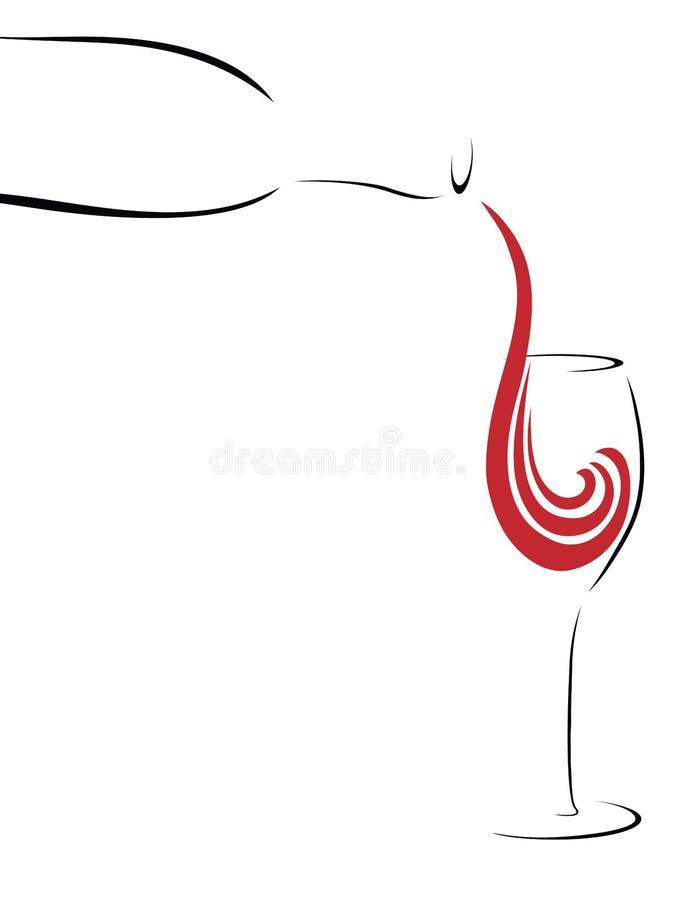 Vidro estilizado abstrato do vinho que está sendo derramado ilustração do vetor