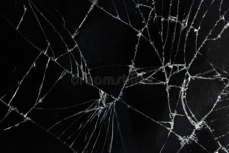 Vidro móvel quebrado rachado da tela da vista superior imagens de stock