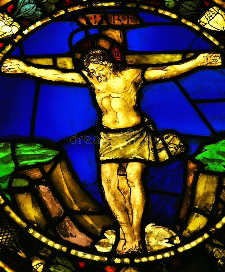 Vidro manchado com imagem de Jesus foto de stock royalty free