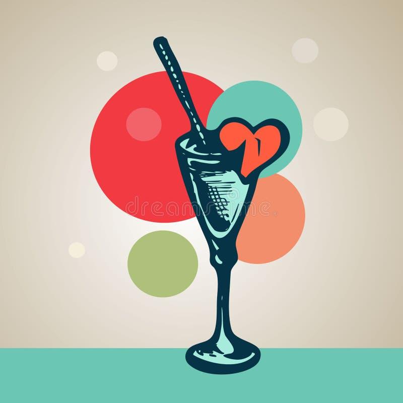 Vidro pintado à mão com palha do cocktail e um coração quebrado ilustração do vetor