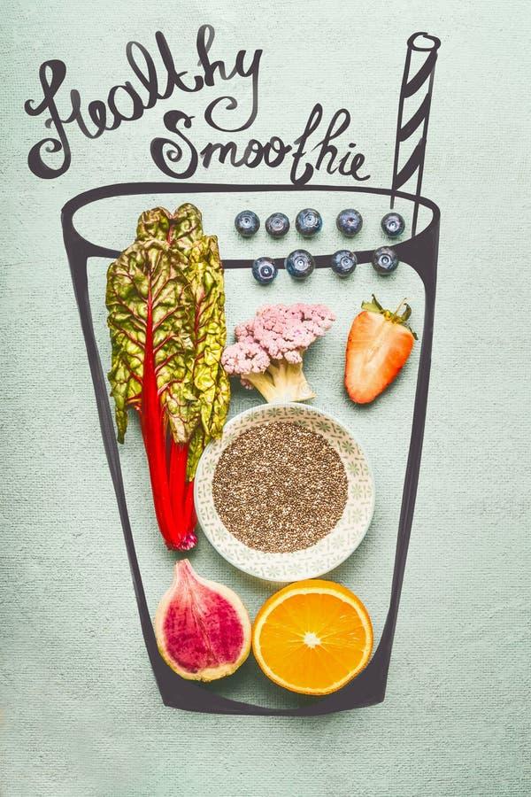 Vidro pintado com os ingredientes da bebida do batido ou da desintoxicação: Sementes de Chia, laranja, brócolis cor-de-rosa, mora foto de stock