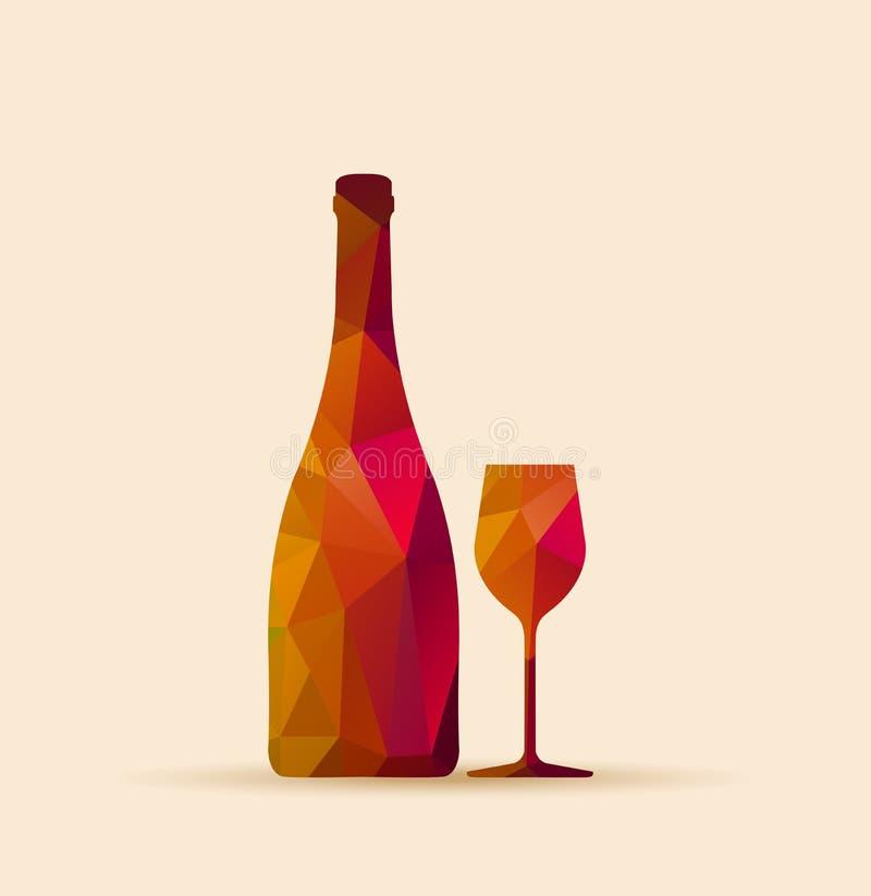 Vidro poligonal e garrafa ilustração do vetor