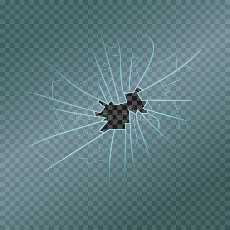 Vidro quebrado com fragmentos, quebras e furo realísticos Janela danificada Vetor ilustração royalty free
