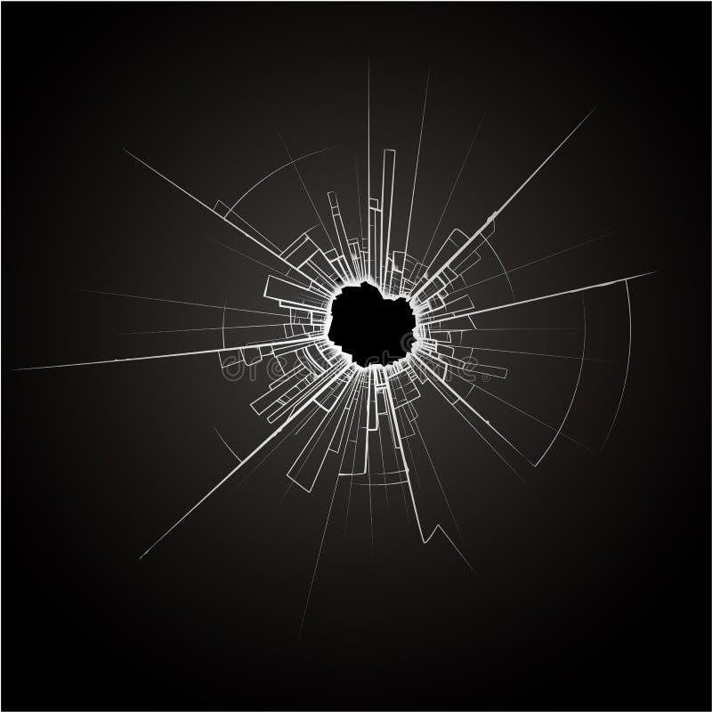 Vidro quebrado preto ilustração do vetor