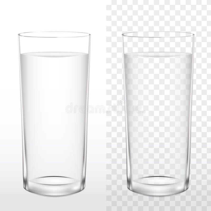 Vidro realístico da água potável no fundo branco e transparente, ilustração do vetor ilustração royalty free