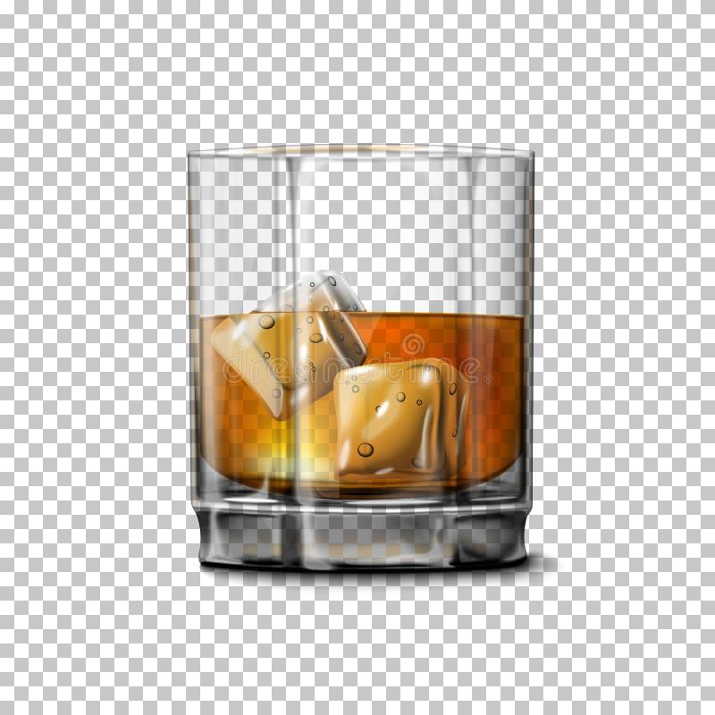 Vidro realístico transparente do vetor com uísque escocês e gelo do smokey ilustração do vetor