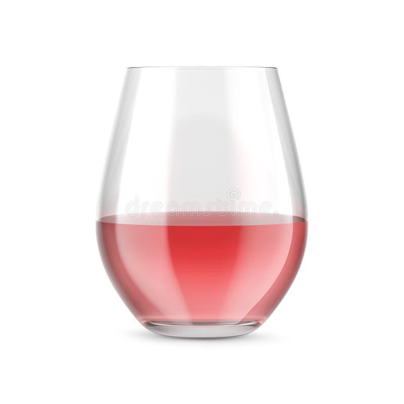 Vidro Stemless com vinho cor-de-rosa, cor-de-rosa Modelo para apresentações dos produtos ilustração stock