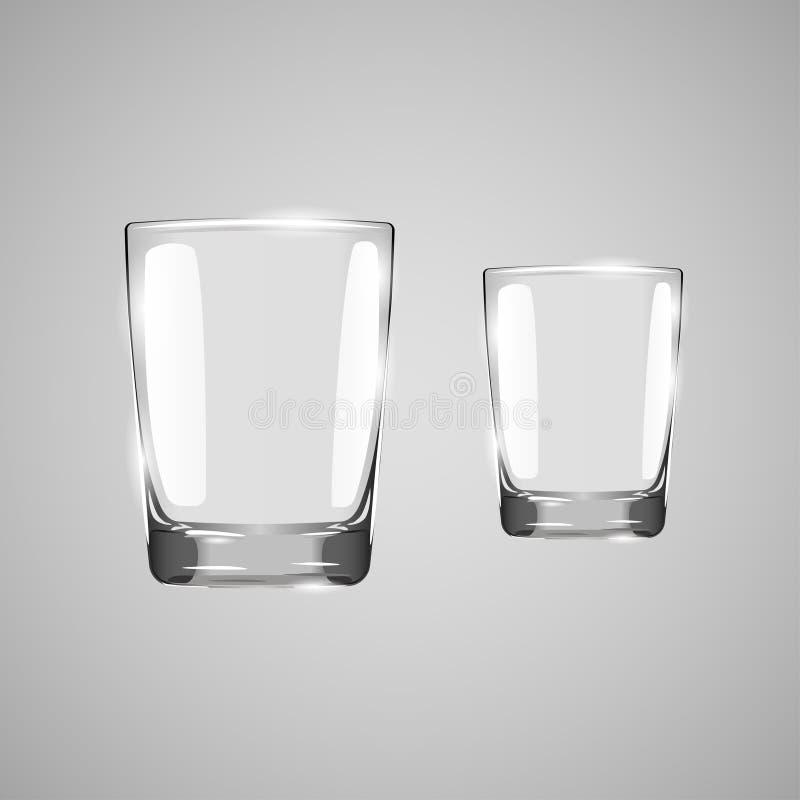 Vidro vazio realístico Vidro no fundo cinzento Vidro bebendo Copo vazio do vidro bebendo Vidro transparente Ilustração do vetor ilustração royalty free