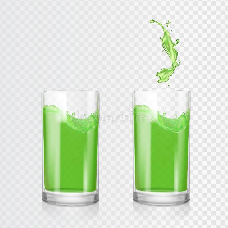 Vidro verde do suco Maçã do fruto ou bebida de refrescamento do quivi Ilustração realística do vetor ilustração do vetor