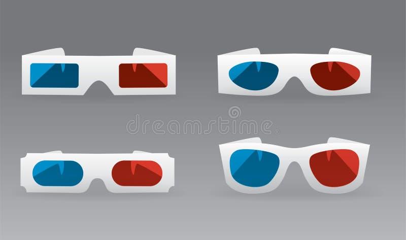 vidros 3D ilustração stock
