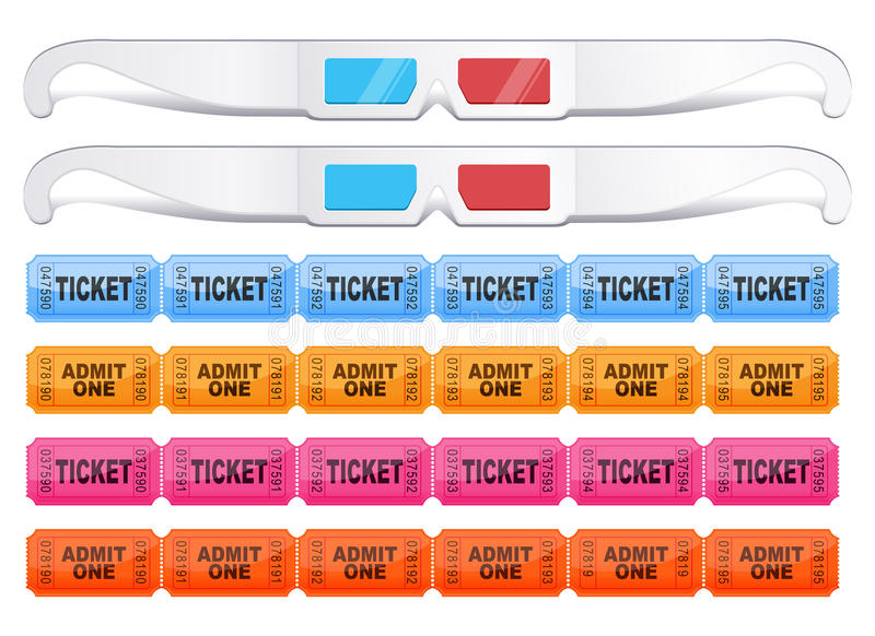 vidros 3d com bilhetes ilustração royalty free